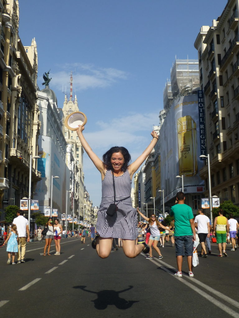 Jumping for joy in the streets of Madrid.